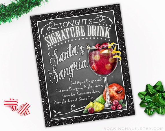 Looking for ideas for your Christmas party decor? Set out this festive 8 x 10 Cocktail Sign and serve up Santas Sangria at your office or house party.  8x10 Signature Drink Sign Unframed, Laser Printed Art on Card Stock Santas Sangria  AS IT IS The base price of this listing is for the sign pictured in the first image (PIC #1) of this listing, as it is, with NO CHANGES to the header, text or illustration. (You may select a border from the choices shown in PIC #5.)  UPGRADE & PERSONALIZE IT…