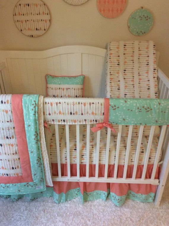 Bumperless Crib Bedding Set Coral and Mint by butterbeansboutique