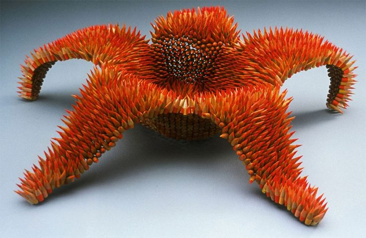 Awesome #Pencil #Sculptures by Jennifer Maestre  Initially motivated by the shape and capacity of an ocean urchin, craftsman Jennifer Maestre builds cumbersome natural structures utilizing pencils and pencil shavings that blossom like unworldly blooms.   #Pencil #Sculptures
