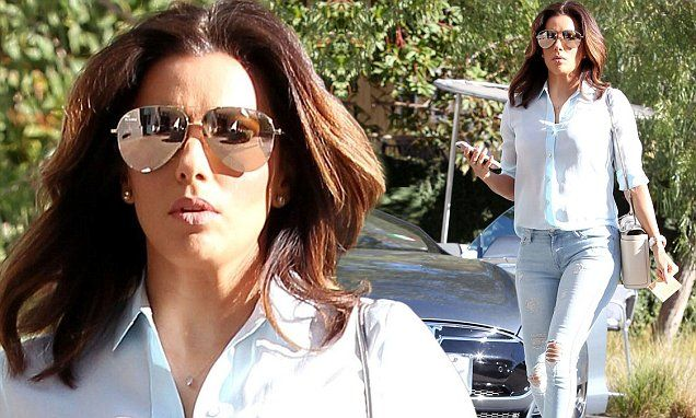 Eva Longoria sizzles in ripped denim and a baby blue shirt in Los Angeles | Daily Mail Online