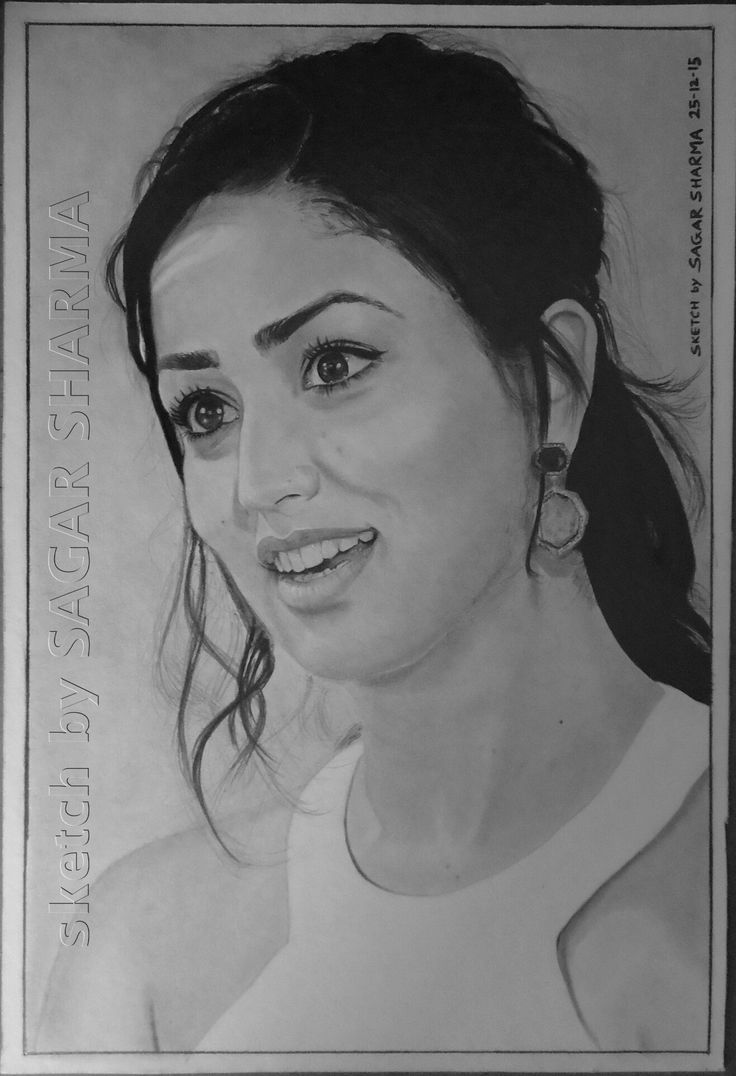 """ELEGANT BEAUTY """"YAMI GAUTAM""""! PENCIL ON PAPER SIZE:- """"12X18"""" IN TIME DURATION:- 17 DAYS"""
