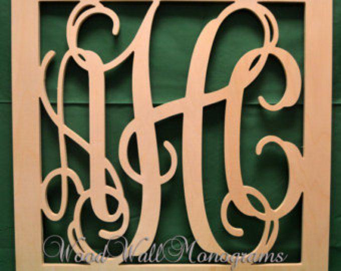 20 Inch Connected Vine Script Wood Monogram Letters Perfect