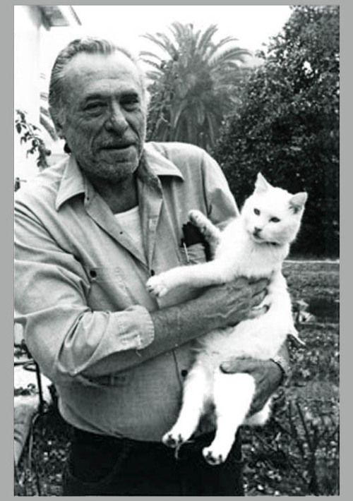 Charles Bukowski and his famous cat