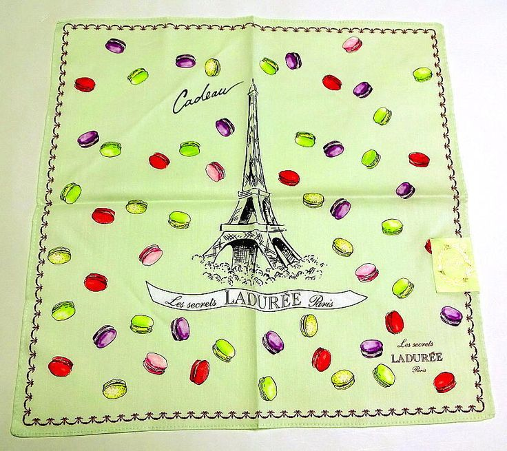 Laduree Handkerchief Green Eiffel Tower Macaron S Cotton Auth New Collectible #Laduree #DesignerArtist