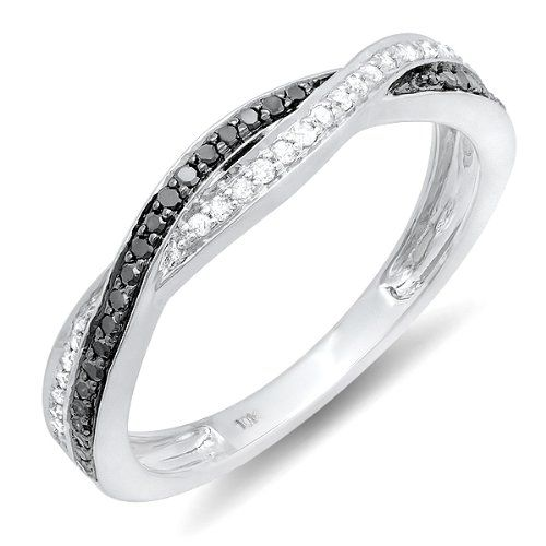 0.25 Carat (ctw) 10K White Gold Round Black  White Diamond Anniversary Wedding Band Swirl Matching Ring 1/4 CT $249.00 (71% OFF) + Free Shipping