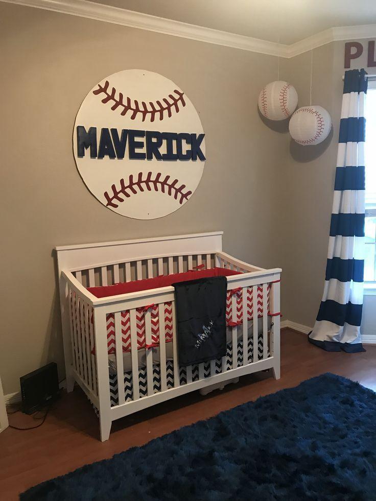 Baseball Nursery Red White And Blue Nursery Decor Boy Nursery