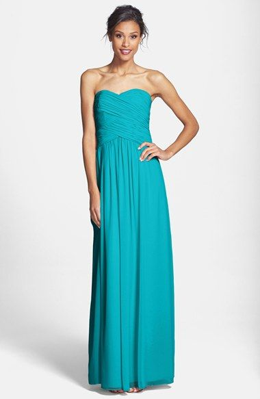 Blue/Green Donna Morgan 'Audrey' Strapless Chiffon Gown as Bridesmaid dresses