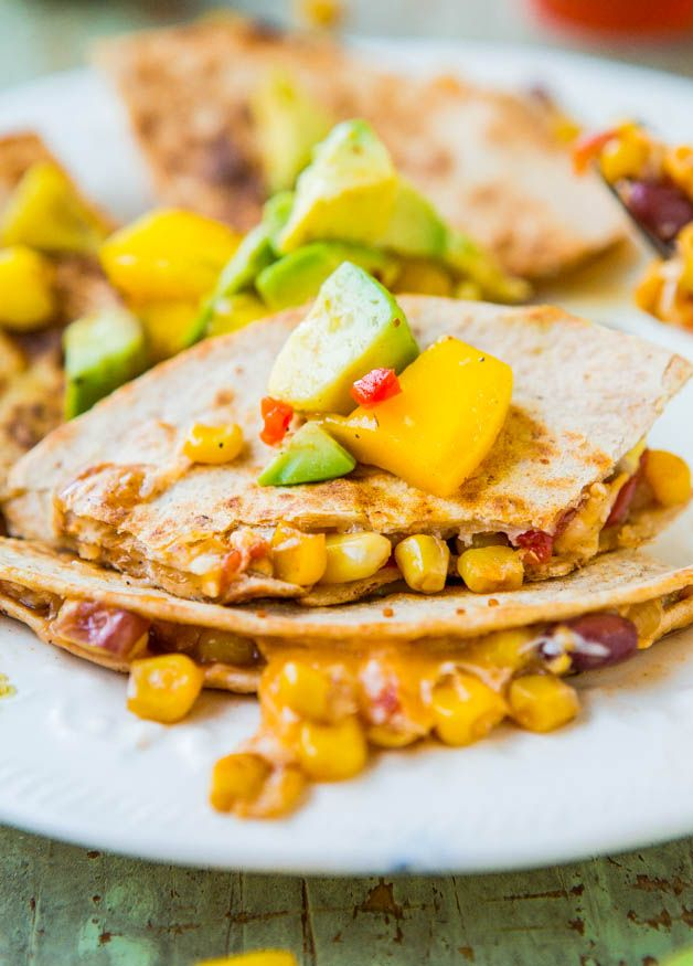 Lightened Up Corn and Bean Quesadillas with Avocado-Mango-Chipotle Salsa | AverieCooks.com | #dinner #Mexican_food