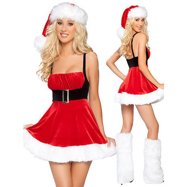 funny Christmas Costumes Belted Waist Red Santa Costume Female ($24) ❤ liked on Polyvore featuring costumes, red, santa costume, womens halloween costumes, christmas halloween costume, ladies halloween costumes and womens costumes