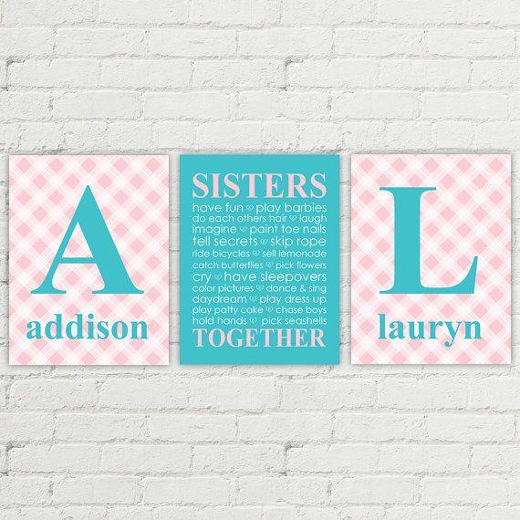 Twin girls nursery art - girls playroom decor - twin sisters monogram art - sisters bedroom decor - plaid - pink and purple room nursery