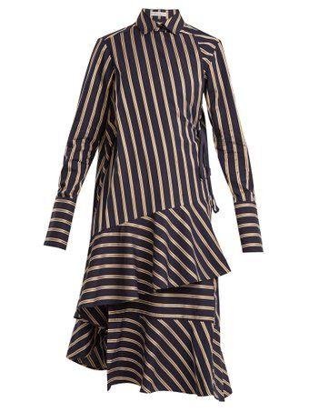 Wrap-style striped cotton dress