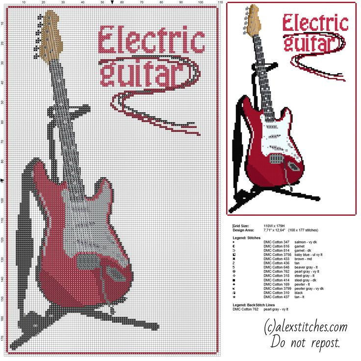 A beautiful red electric guitar on the stand free cross stitch pattern