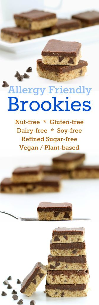 Nutritionicity | Recipe: Allergy Friendly Brookies (Gluten-Free, Vegan / Plant-based, Nut-Free, Soy-free, Refined Sugar-Free) Allergy Friendly Brookies are now nut-free, along with being gluten-free, vegan / dairy-free, refined sugar-free, and soy-free. The one thing they are not lacking is deliciousness! recipe at http://www.nutritionicity.com/recipes/recipe-allergy-friendly-brookies-gluten-free-vegan-plant-based-nut-free-soy-free-refined-sugar-free/