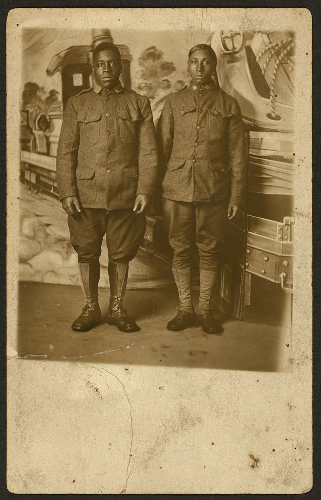 African-American soldiers, standing in front of a photographer's backdrop. William A. Gladstone Collection. Library of Congress Library of Congress Prints and Photographs Division.