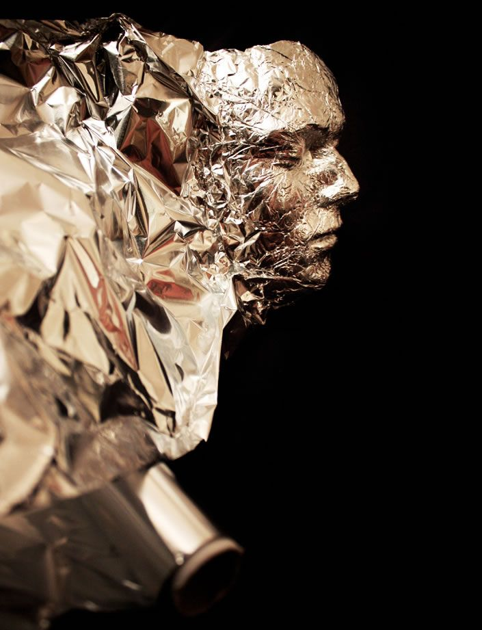 your face in aluminum foil. Just got goosebumps thinking about how to make this a brand new 3D projects