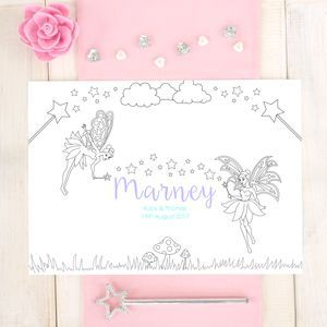 Personalised Fairy Wedding Colouring Placemat on notonthehighstreet by Chi-Chi Moi