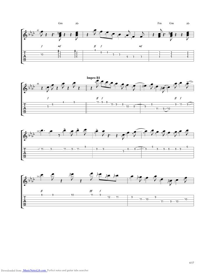 Midnight Blue guitar pro tab by Kenny Burrell @ musicnoteslib.com