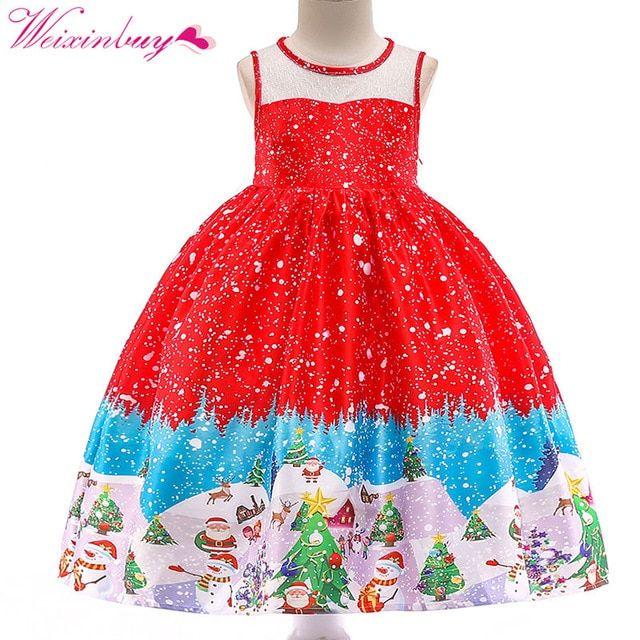 US Christmas Toddler Baby Kids Girl Retro Flared Party Santa Swing Dress Dresses