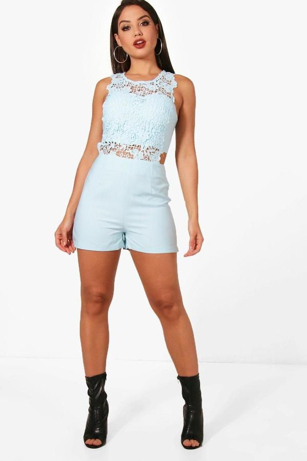 boohoo Lara Crochet Playsuit