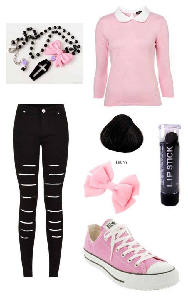 """""""Pastel Goth boop"""" by pipertehcat ❤ liked on Polyvore featuring Converse and Dr. Martens"""