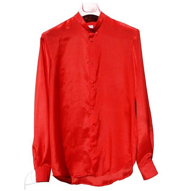 Czerwona koszula jedwabna ze stójką. Do zamówienia w dowolnym kolorze i rozmiarze w butiku latkafashion.com