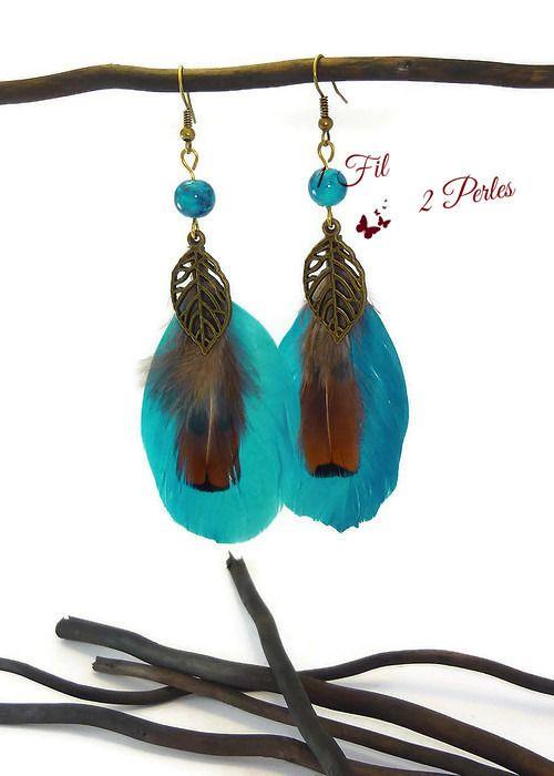 Boucles d'Oreilles Plumes Bleues Perles et Breloques Feuille Ethnique : Boucles d'oreille par 1-fil-2-perles