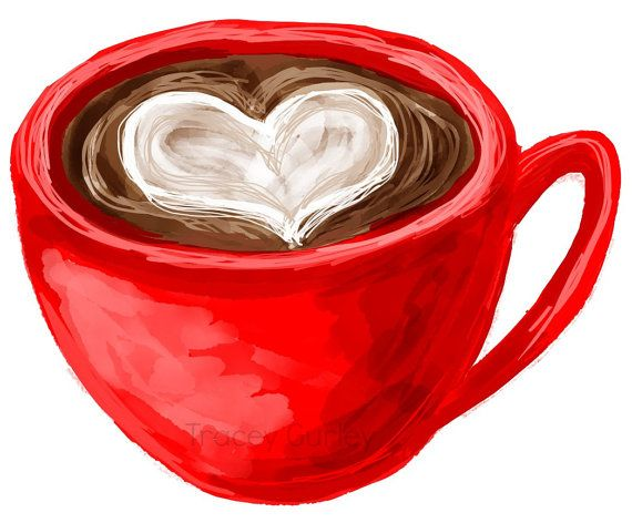 Coffee with Heart Illustration - Original Art Digital Download on Etsy, $3.00