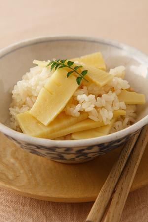 たけのこご飯。Bamboo shoot rice.