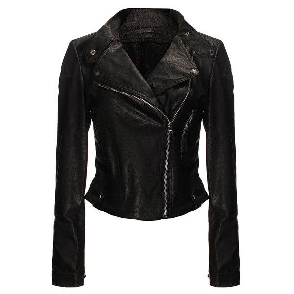 Stud Leather Biker Jacket Outfit Made ❤ liked on Polyvore featuring outerwear, jackets, biker jacket, pleather biker jacket, studded leather jacket, pu leather jacket and moto jacket