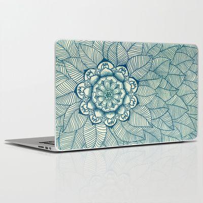 Emerald Green, Navy & Cream Floral & Leaf doodle Laptop & iPad Skin by micklyn - $30.00 #Micklyn