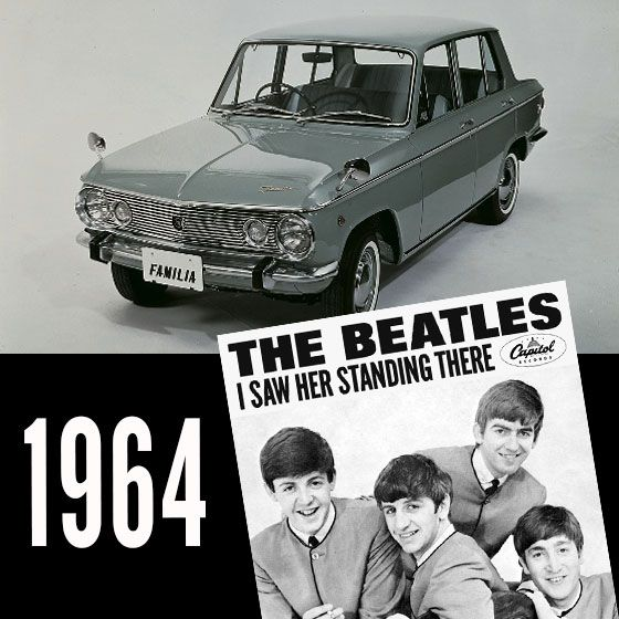 """Nothing screams 1960's more than the legendary Beetles, except perhaps the Mazda Familia 800. Released in 1964, the radio (or """"wirelss"""") would have definitely been blaring """"I saw her standing there"""" - Top Car, Top Song!"""