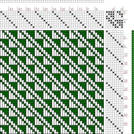 Hand Weaving Draft: Plate 36, Figure 24, Dictionary of Weaves Part I by E.A. Posselt, 8S, 8T Max float 4 - Handweaving.net Hand Weaving and Draft Archiv...