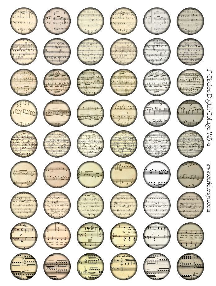 Music Notes Bottlecap Images / Vintage Classical Sheet Music V2 / Printable Digital Collage for Bottle Cap Necklaces. $1,75, via Etsy.