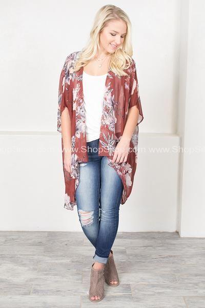 Burgundy Blossom Floral Kimono #outfit #fashion #kimono #floral #women