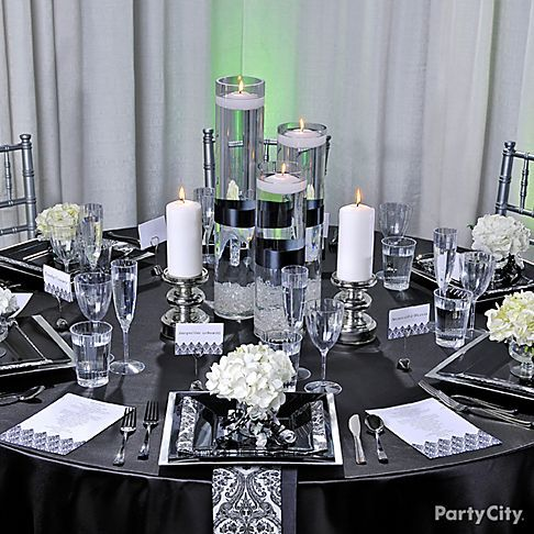 Black and white wedding table decoration ideas