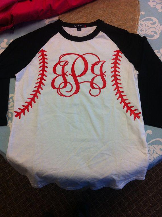 Baseball Softball Personalized Monogrammed Raglan Shirt on Etsy, $22.00 I want it!!