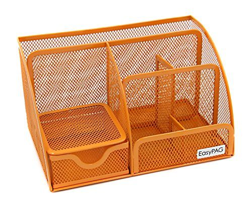 Easypag Mesh Desktop Organizer 6 Compartment Office Desk Organizers Supply Caddy With Drawer Orange