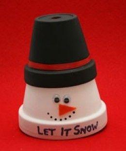 Snowman plant pot ornament