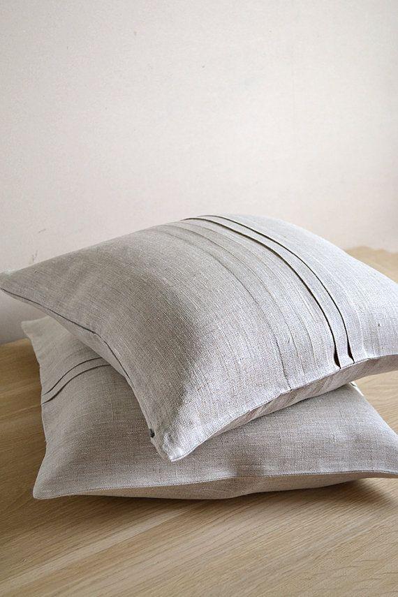 Ecru ORGANIC  Linen Pillow Cushion Cover / Case