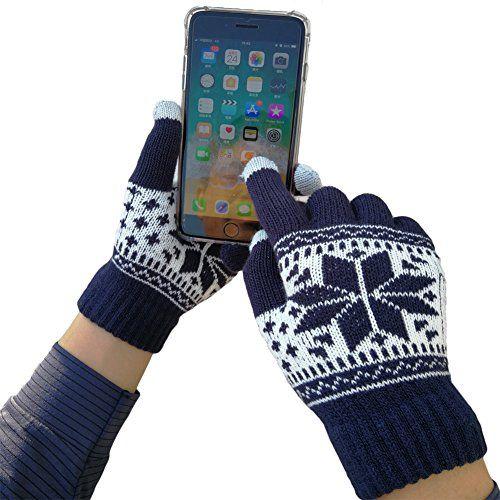 7e72802312907f iEverest Unisex Touchscreen Handschuhe Lover Handschuhe Gestrickte  Touchscreen Schneeflocken-Handschuhe dicke Handschuhe Smartphone  Touchscreen Handschuhe