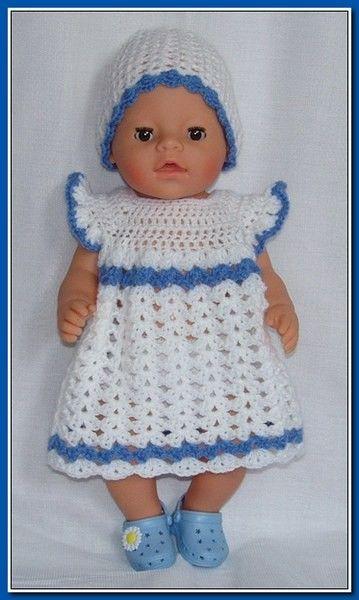 Gehaakt jurkje met muts Wit - blauw
