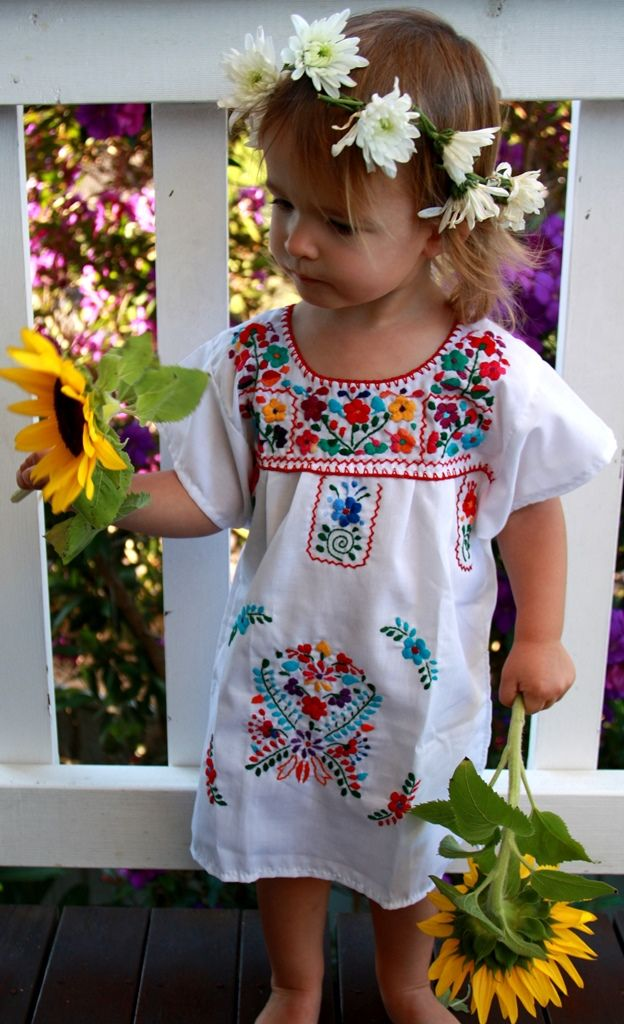 White hand-embroidered Mexican Dress
