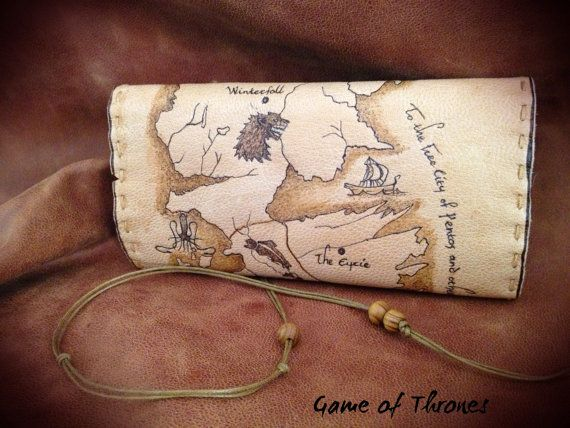 ''Game of Thrones Map'' Tobacco Pouch  Leather Tobacco Pouch in natural color. The pyrography displays the map of the ''Game of Thrones'' series. It has internal pockets for rolling papers and filters. The item can not be made exactly the same as the photo becouse is 100% handmade. Buyers can request changes they would like to do on pouch if they want to (eg change the dimensions of the case, add small pocket for the lighter....)  Dimensions: 150mm x 200mm