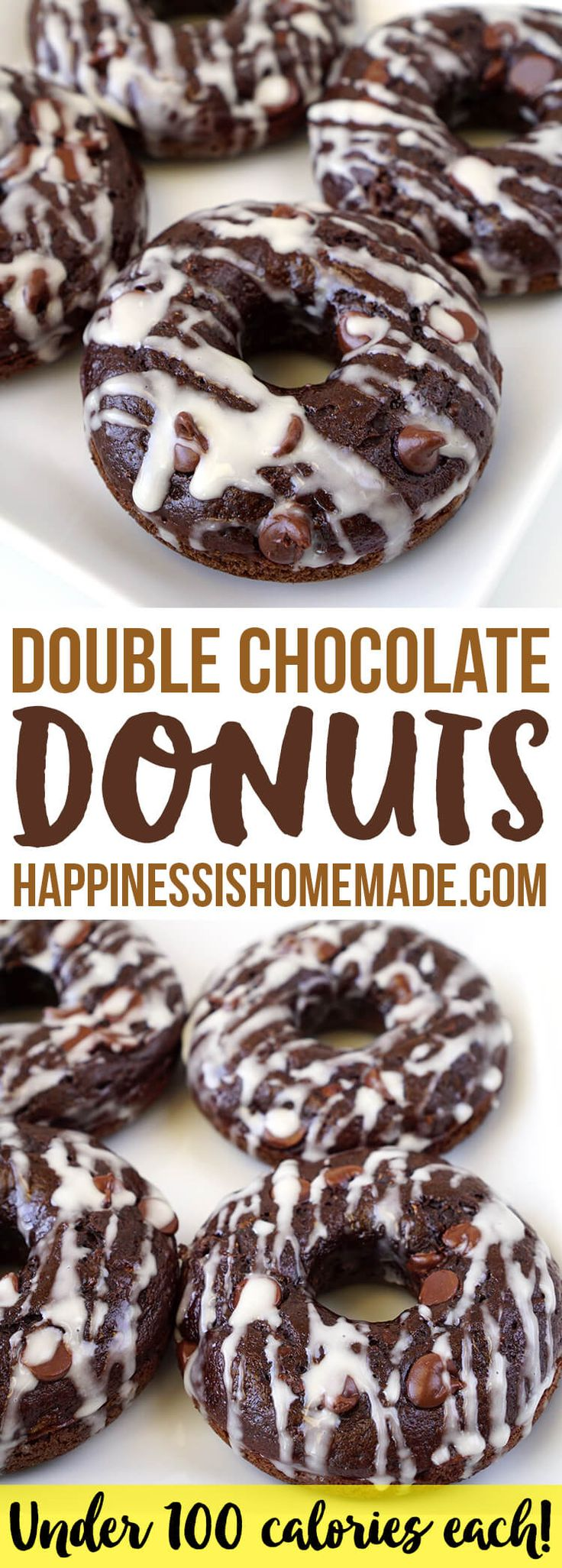 Healthy Double Chocolate Zucchini Donuts Under 100 Calories Each - These better-for-you double chocolate donuts are under 100 calories each! A moist and rich chocolaty indulgence that won't blow your diet!