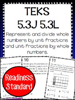 Use these task cards in your instruction or as you prepare for STAAR. Included are 16 task cards which specifically cover TEKS 5.3J and 5.3L5.3L Represent and solve multiplication of a whole number and a fraction that refers to the same whole using objects and pictorial models, including area models. 5.3J Divide whole numbers by unit fractions and unit fractions by whole numbers.