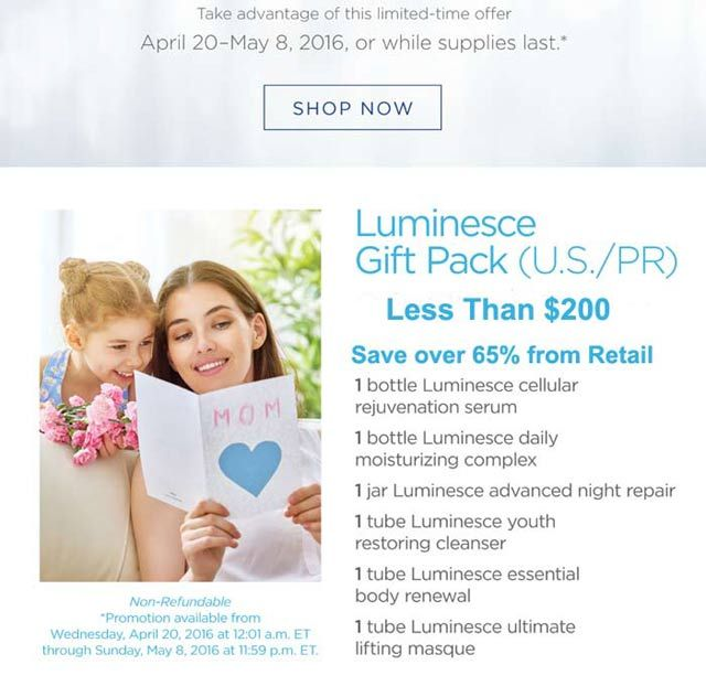Mother's Day Sale Jeunesse Luminesce Complete Skin Care Product Line - http://create-2nd-income.com/wordpress/2016/04/23/mothersdaysale/