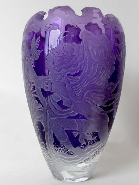 Marina Art Glass Gallery  Representing Marialyce Hawke, Master Designer  Eileen Gonzales, Owner  (310) 398-0314 E-mail    Purple Vase With Fairy and   Mythical Butterflies   8-1/2 x 5