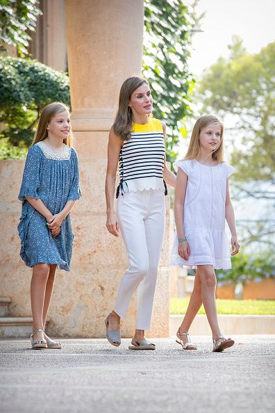 Queen Letizia of Spain, Princess Leonor of Spain (R) and Infnata Sofia of Spain (L) attend the summer photocall on July 31, 2017 in Palma de Mallorca, Spain.