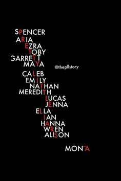 Spencer Aria Ezra Toby Garrett Maya Caleb Emily Nathan Meredith Lucas Jenna Ella Ian Hanna Wren Allison & Mona are the Name in Pretty Little Liar Title