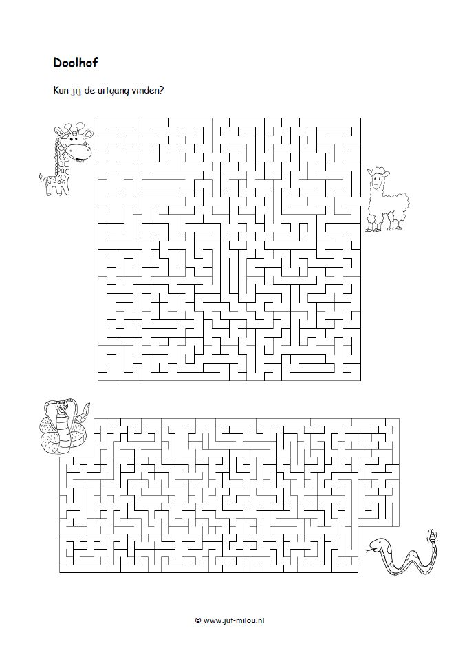 Doolhof - Kun jij de uitgang vinden? [juf-milou.nl]